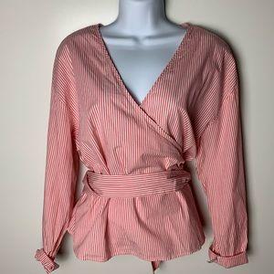 A New Day pink a.n.d. white stripe wrap shirt XL
